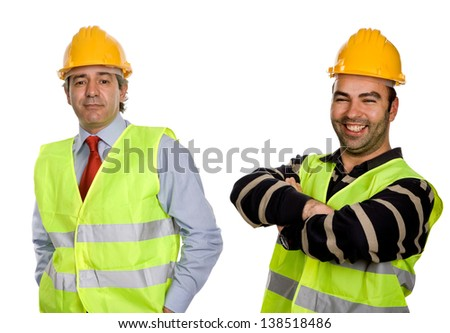 happy workers with yellow hat, in a white background - stock photo