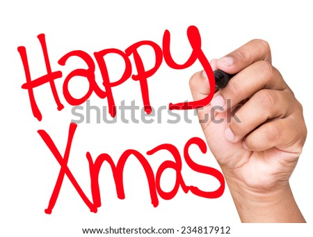 Happy Xmas written on a transparent board - stock photo