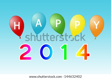 Happy Year 2014 card with balloons in colors red, blue, yellow, orange and green