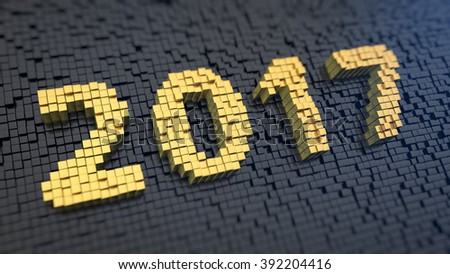 Happy 2017 year! Digits 2017 of the yellow square pixels on a black matrix background. 3D illustration pic - stock photo