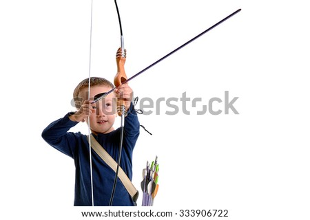 Happy 3 years old boy, holding a handmade bow with an arrow and a quiver, preparing to shoot, isolated on white -  side view - stock photo