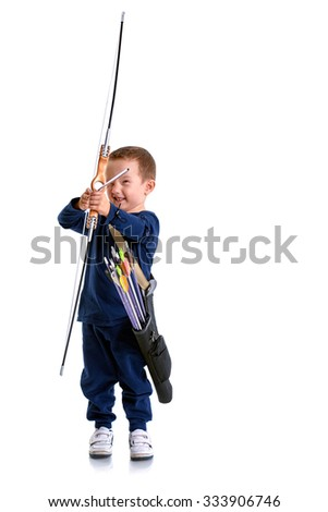 Happy 3 years old boy, holding a handmade bow with an arrow and a quiver, preparing to shoot, isolated on white -  front view - stock photo