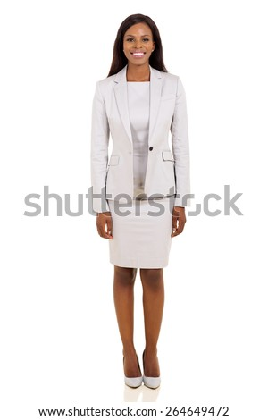 happy young african american business woman on white background - stock photo