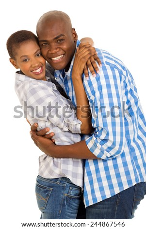 happy young african american couple embracing - stock photo