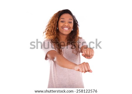 Happy young african american dancing  isolated on white background - Black people - stock photo