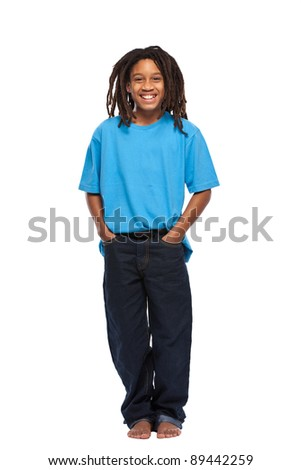 happy young african guy isolated on white - stock photo