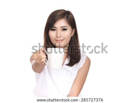 Happy young asian woman  holding cup coffee with blank copyspace area for text,Closeup portrait of beautiful Asian woman,Thai girl,Positive human emotion facial expression,isolated on white background - stock photo