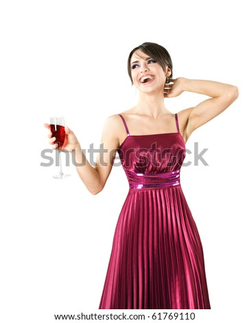 Happy young beautiful smiling woman with glass of wine - stock photo
