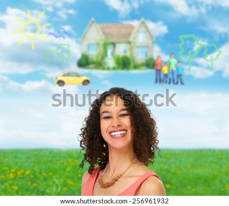Happy young beautiful woman with a white healthy smile. - stock photo