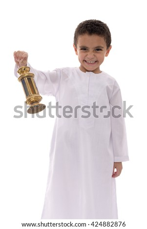 Happy Young Boy Celebrating Ramadan with Fanoos Isolated on White Background
