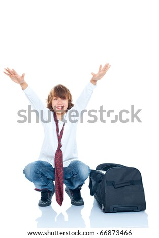 Happy young boy going to travel