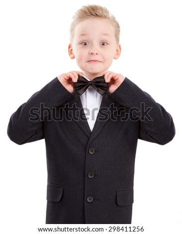 Happy Young Boy in suit. Ready for School Isolated - stock photo