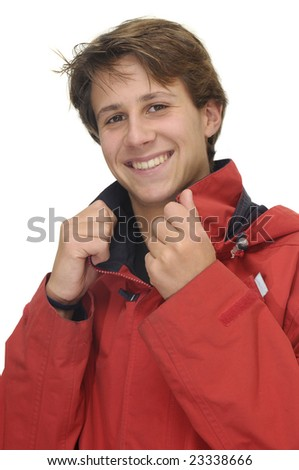 Happy young boy  isolated against a white background - stock photo