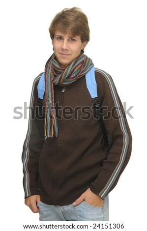Happy young boy student isolated against a white background - stock photo