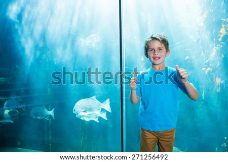 Happy young boys rising his finger in front of a tank at the aquarium - stock photo
