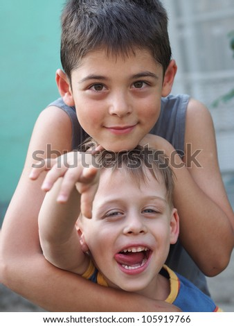 happy young brothers - stock photo