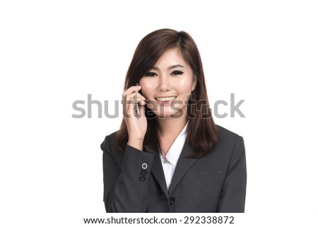 Happy young business asian woman talking on smart phone with blank copyspace for text,Portrait of beautiful Asian woman,Thai girl,Positive emotion facial expression,isolated on white background