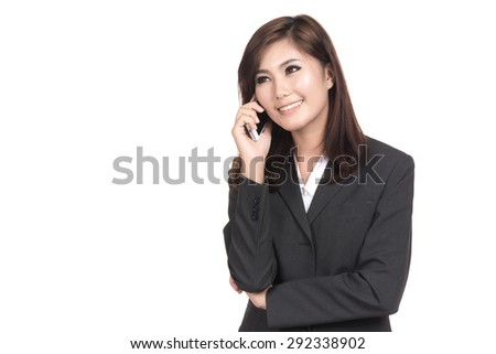 Happy young business asian woman talking on smart phone with blank copyspace for text,Portrait of beautiful Asian woman,Thai girl,Positive emotion facial expression,isolated on white background - stock photo