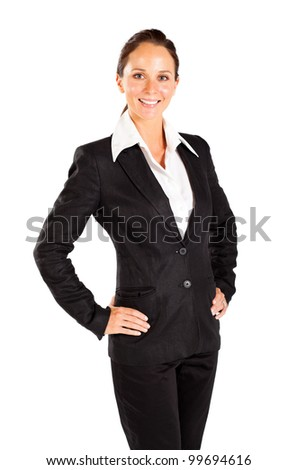 happy young business half length portrait - stock photo