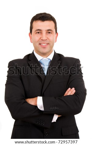 Happy young business man portrait, isolated on white - stock photo