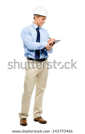 Happy young businessman architect planning ahead isolated on white background - stock photo