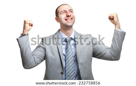 Happy young businessman isolated on white - stock photo