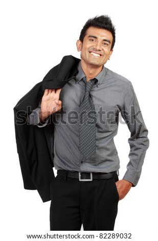 Happy young businessman standing isolated on white - stock photo