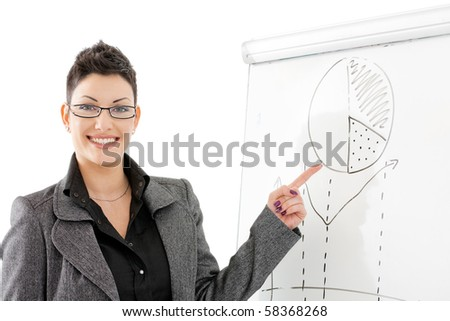 Happy young businesswoman doing business presentation, pointing to chart on whiteboard, smiling. - stock photo