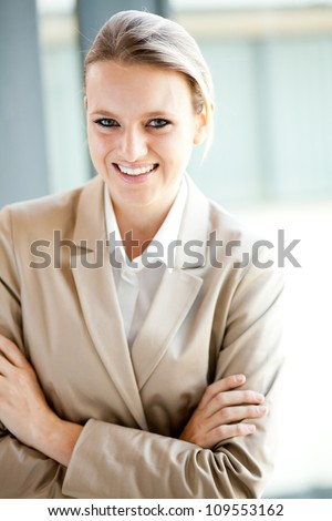 happy young businesswoman laughing - stock photo