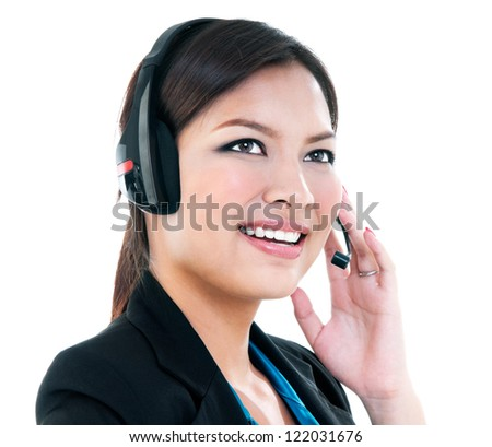 Happy young businesswoman with headset, isolated on white.