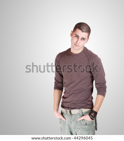 happy young casual man portrait - stock photo