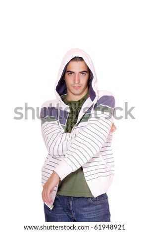 happy young casual man portrait, isolated on white