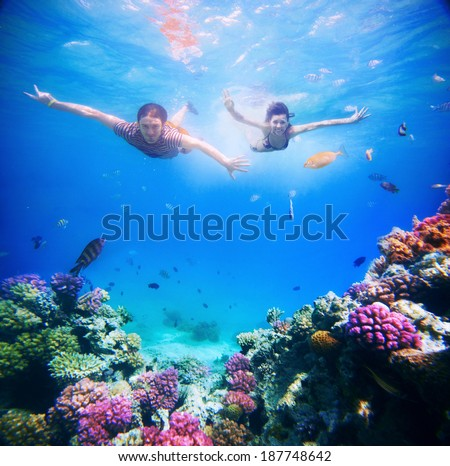 Happy young couple diving in super clear tropical sea under the coral reef - stock photo