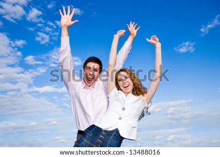 Happy young couple enjoying summer