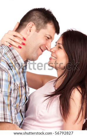 Happy young couple having a great time together - stock photo