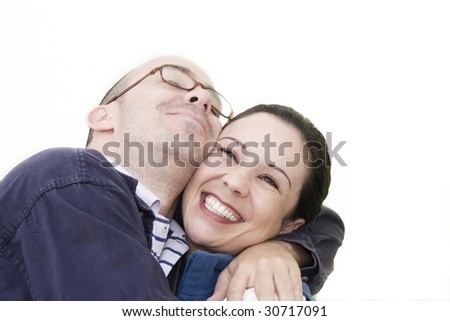 Happy Young couple in love playing - stock photo