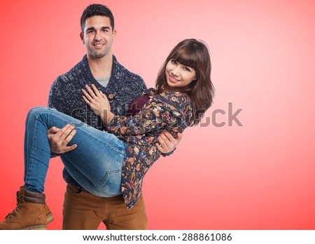 Happy young couple isolated - stock photo