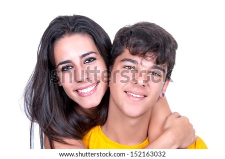 Happy young couple isolated on white background  - stock photo