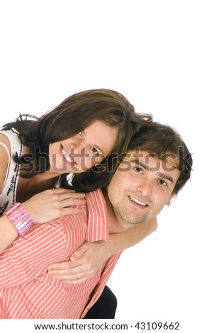 Happy young couple isolated over white - stock photo