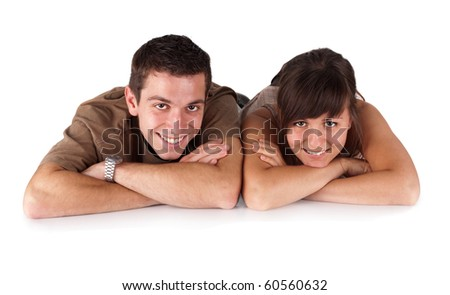 happy young couple 2 on white background - stock photo