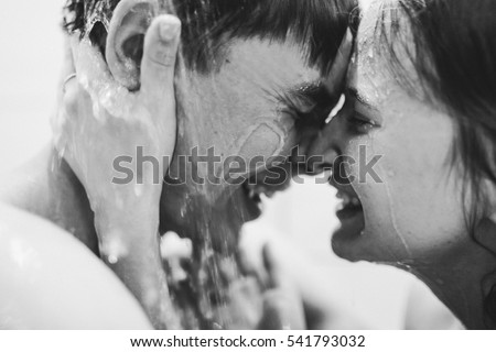 get a shower happy young couple take shower together stock photo 541793032