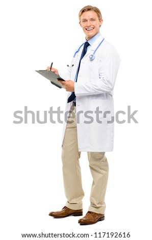 Happy young Doctor smiling isolated on white background - stock photo