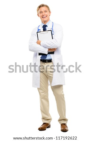 Happy young Doctor smiling isolated on white background