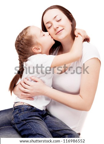 happy young family; mother and her daughter  isolated against white background - stock photo