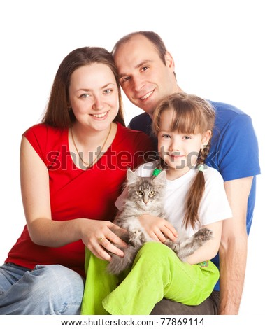 happy young family; mother, father, their daughter and a cat isolated against white background (focus on the child) - stock photo