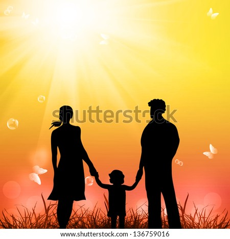 Happy young Family on  a nature background