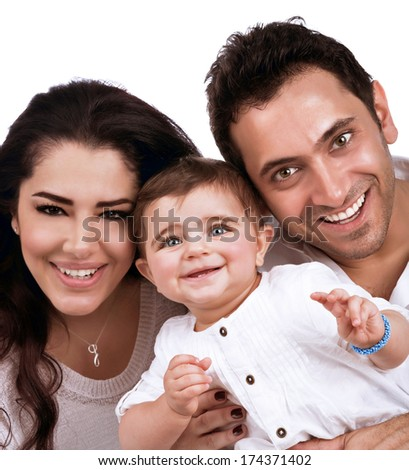 Happy young family portrait isolated on white background, cute little baby with cheerful parents, love and happiness concept