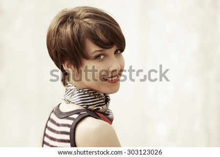 Happy young fashion woman outdoor - stock photo