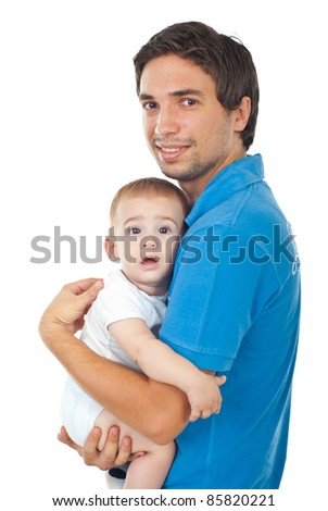 Happy young father holding baby boy isolated on white background - stock photo