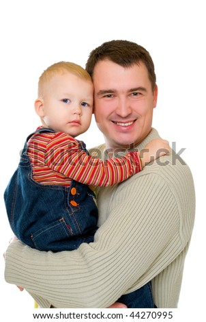 happy young father holding his hands on his little son isolated on white - stock photo